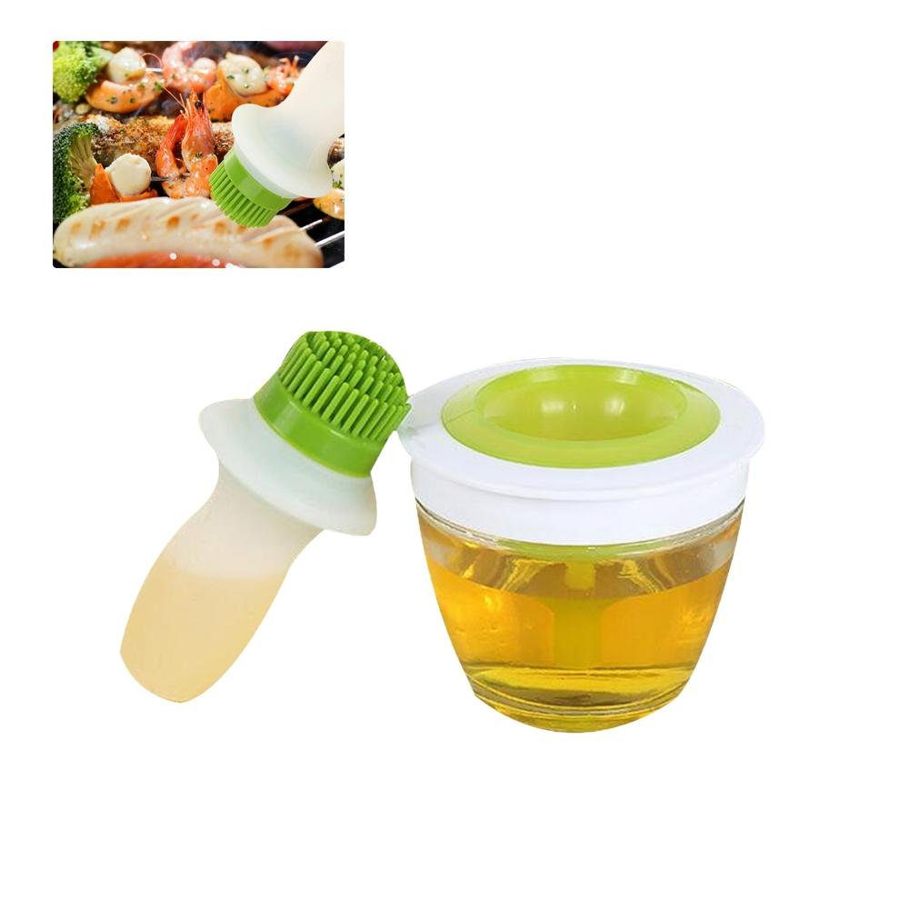 Silicone Oil Bottle Brush Olive Oil, Vinegar, Salad Dressing Dispenser Bottle & Baster Brush, Turkey Baster and Pastry Brush Set with Thick Glass Docking Bowl for Cooking, BBQ, Baking and Grilling