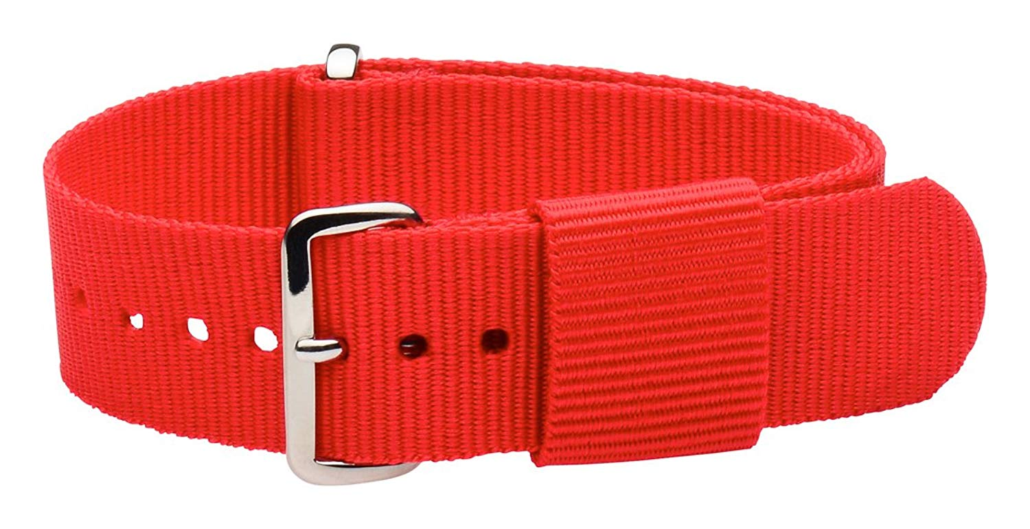20mm Nato Ss Nylon Loop Solid Red Interchangeable Replacement Watch Strap Band