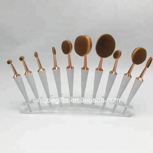 Manufacture customized solid makeup brush counter display stand clear acrylic brush holder