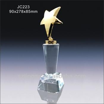 New Design Crystal Glass Metal Star Award Trophy Cup JC223
