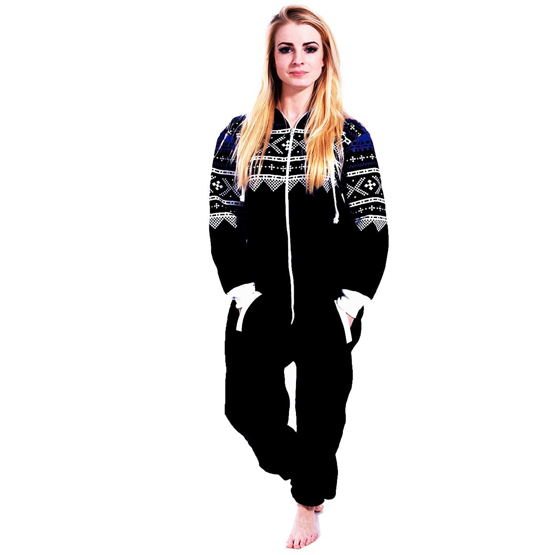 4b03f2d22 Get Quotations · Newfacelook Women Ladies Stylish Printed Onesie Hoody One  Zip Hoodie Jumpsuit