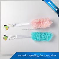 high strength HS003 plastic bath sponge body brush with handle