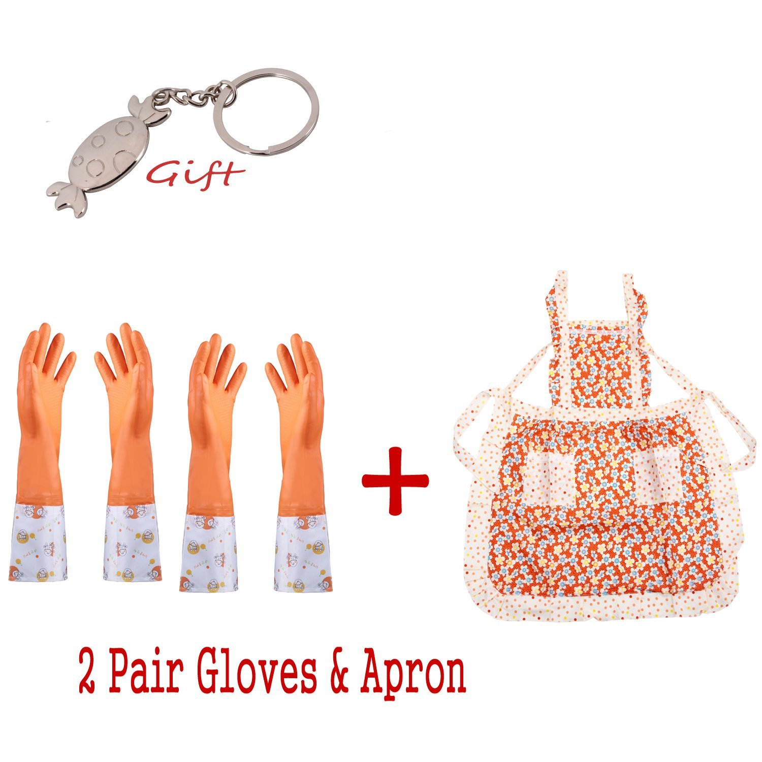 ULT-unite Long Sleeve Latex Kitchen Wash Dishes Dishwashing Gloves Cleaning Kit With Apron, Keep Warm Gloves&Thin Gloves&Apron 3 in 1 Household Gloves Cleaning Tools Accessories