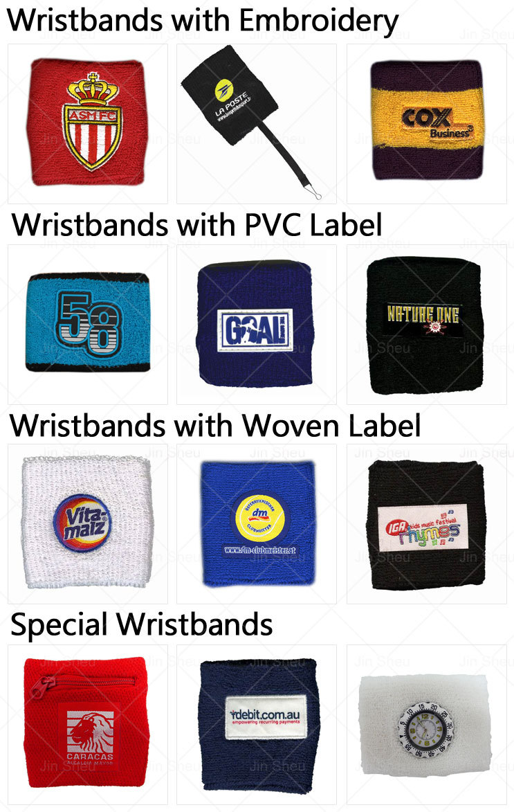 Custom Logos Embroidered Sports Sweatband Basketball Badminton Tennis Wristband