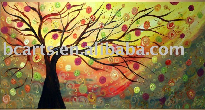 modern flowering trees oil painting,Hand-painted abstract art techniques, restaurant wall decoration hanging <strong>pictures</strong>, Shenzhen