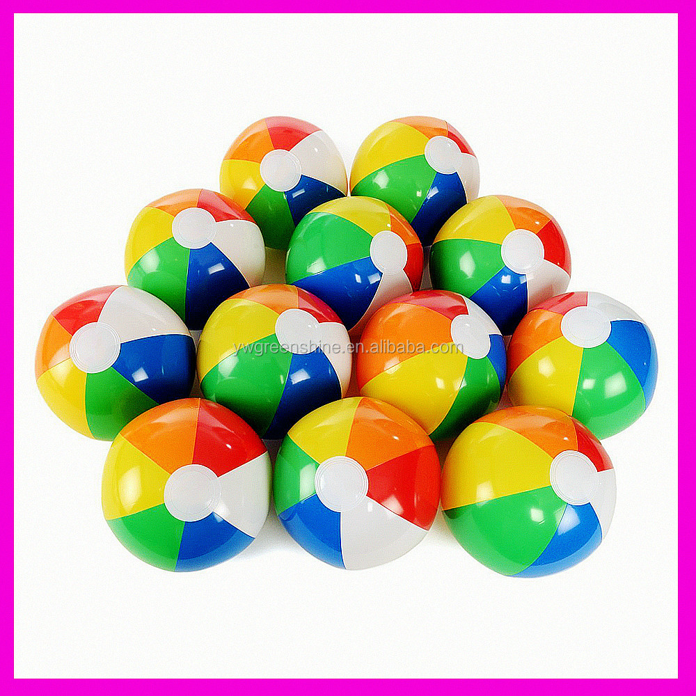 "2016 Hot Selling 18"" Rainbow Beach Ball, Rainbow Inflatable LBeach Ball Pool Toys"