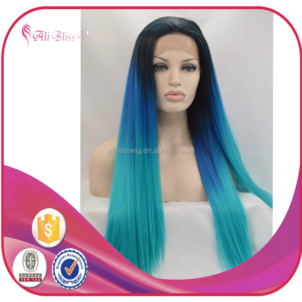 Ombre Blue to Green Lace Front Wigs Synthetic Hair Half Hand Tied Heat Resistant Fiber Medium Long Haircut Style Straight