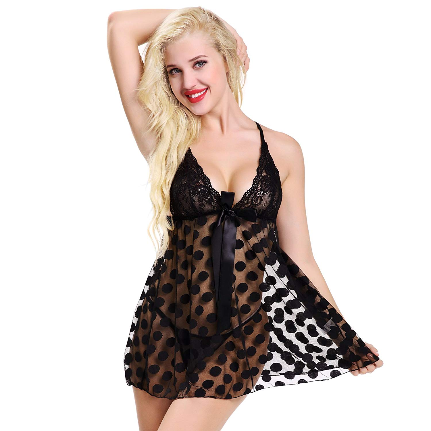 18eb4bf9015 Get Quotations · wenxuan Women Mesh Lingere Lace Babydoll Chemise Plus Size  Polka Dots With G-String