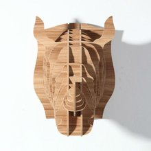 Wild nature, simple rhinoceros head wall hangings, home decoration,Manchurian ash color