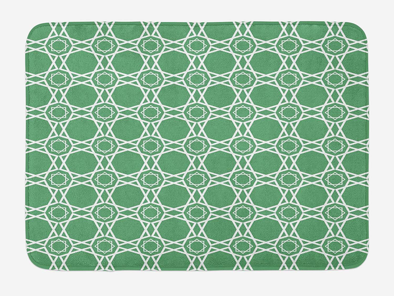 Ambesonne Green Bath Mat, Moroccan Traditional Star Pattern Girih Tiles Inspired Geometrical Retro Arabic, Plush Bathroom Decor Mat with Non Slip Backing, 29.5 W X 17.5 W Inches, Sea Green White