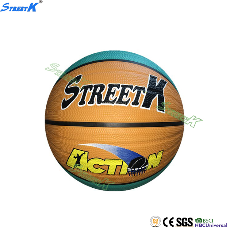 STREETK brand colour basketball ball high quality size 7 basket ball rubber 2017 wholesale custom basketball
