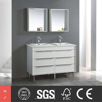 Modern All White Melamine Double Sinks Bathroom Vanities