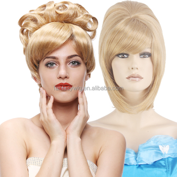 Highest Quality Noble Updo Short 17 quot  Blonde Straight Party Wig Costume  Women Cosplay Cinderella Fake 2fe47350ab30