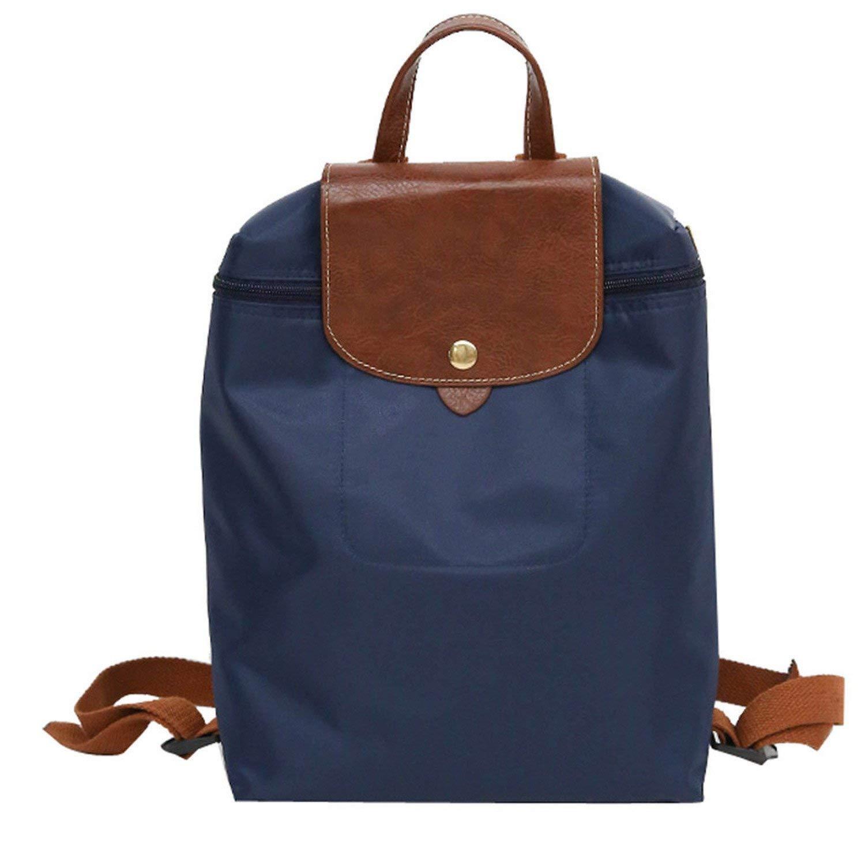Leisure Travel Nylon Zipper Bag Student Backpack Folding Bag Shoulder Bag Women Backpacks Blue