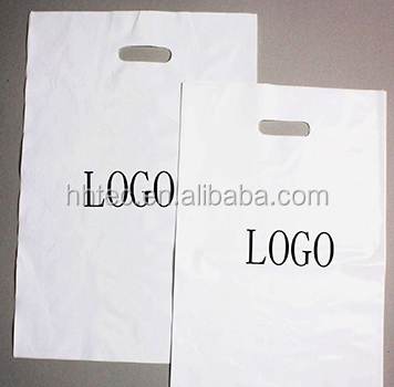 Custom Logo Design Printed Biodegradable LDPE/HDPE Carrier Punch Hole Handle Shopping Plastic Die Cut Bag