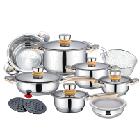 stainless steel 18pcs cookware set induction cooking hot pots / kitchen utensils