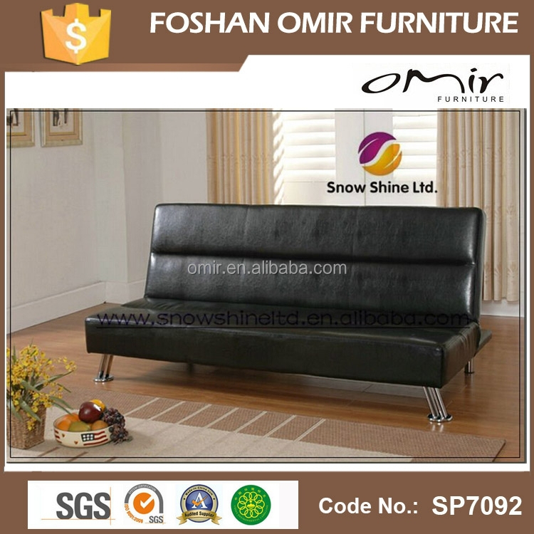 Iowa Black Faux Leather Click Clack Clic Clac Sofa Bed Futon View