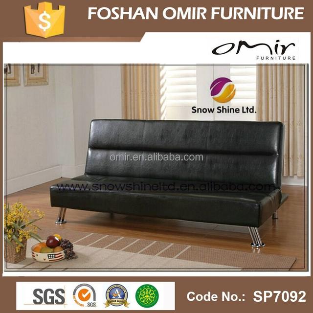 Iowablack Faux Leather Click Clack Clic Clac Sofa Bed Futon
