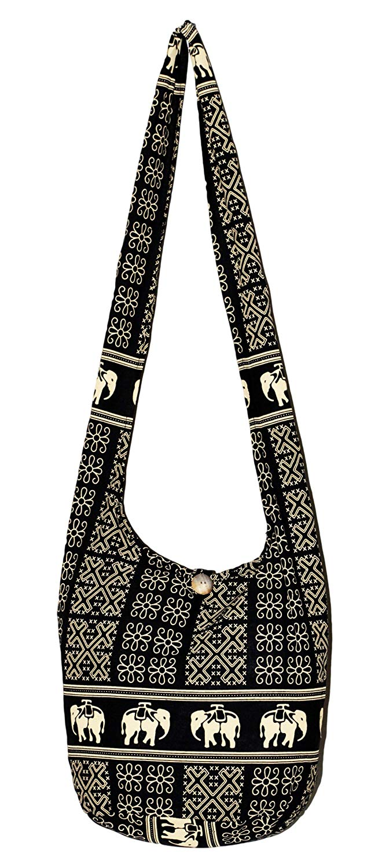 2fb24a2809 Get Quotations · Elephant Bohemian Boho Hobo Hippie Crossbody Bag Purse 33  inch (Black Yellow)