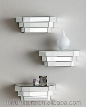 mirror shelves. floating mirrored shelves-set of 3 mirror shelves e
