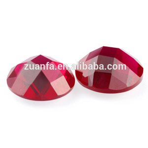 synthetic machine cut round flat back checker faceted ruby gems