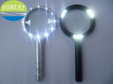 12 led magnifying glass,AA battery operation magnifying glass with led light,cob glass magnifying
