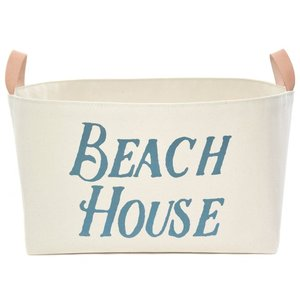 Beach House Canvas Storage Basket with Veg Leather Handles