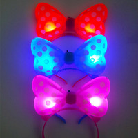 New led flash hair pin luminous bow hairpin headband new year Christmas party supplies multi color concert supplies