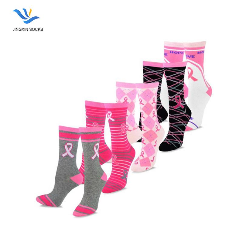 Fck Cancer Pink Ribbon Breast Cancer Womens Crew Long Socks Sports Socks Sweat Uptake Football Socking