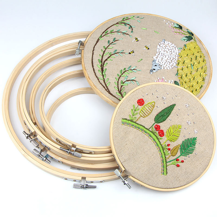 Eco Friendly Round Natural Bamboo Wooden Cross Stitch Embroidery Hoop