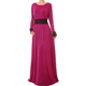 Custom Dubai Woman Abaya Elegant Lace Sash Jersey Muslim Maxi Dress Long Sleeve