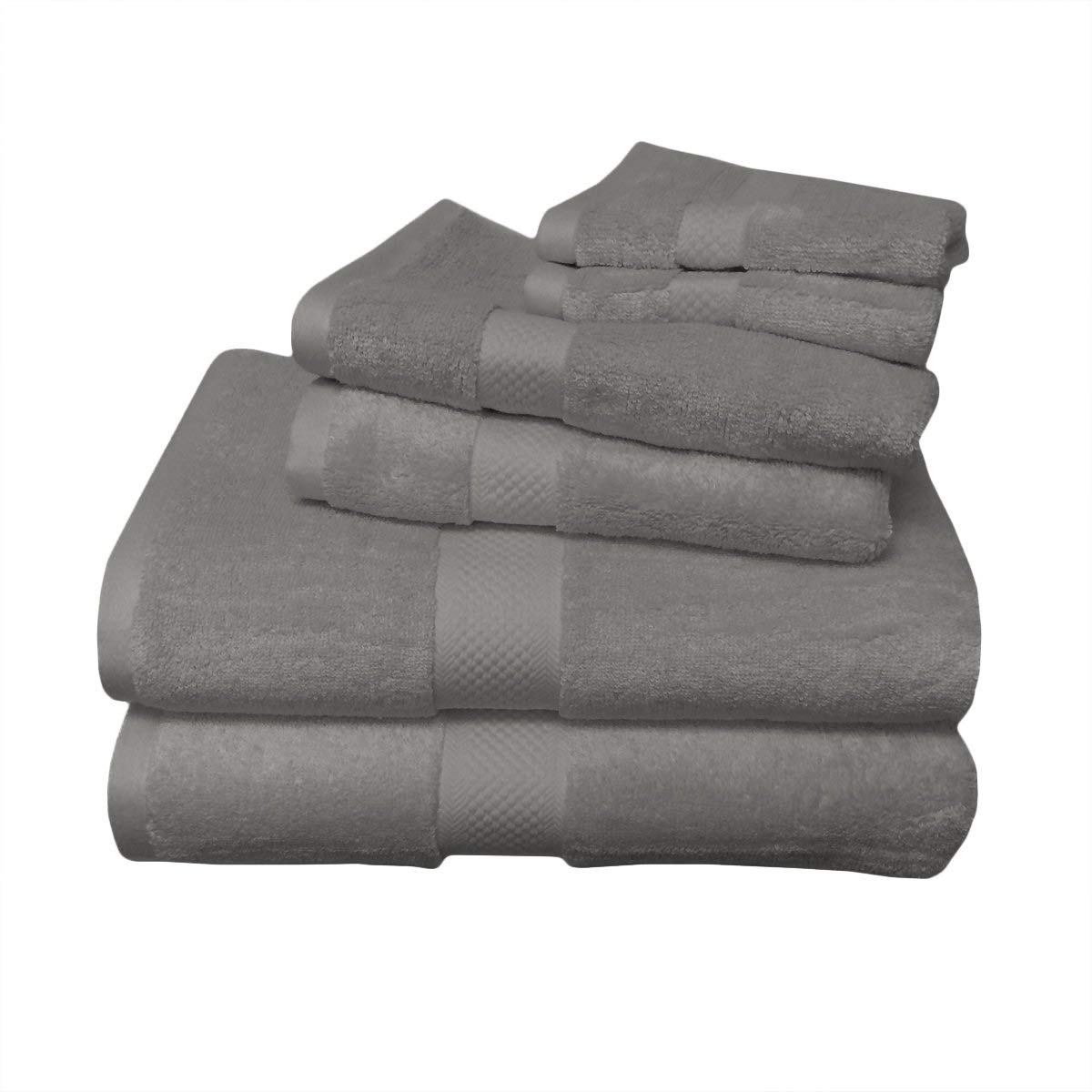 6pc Gray Rayon from Bamboo Blend Towel Set, Includes 2 Bath Towels, 2 Hand Towels, 2 Wash Clothes