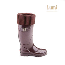 Winter ribbon slim wellington long black and brown rain boots booties