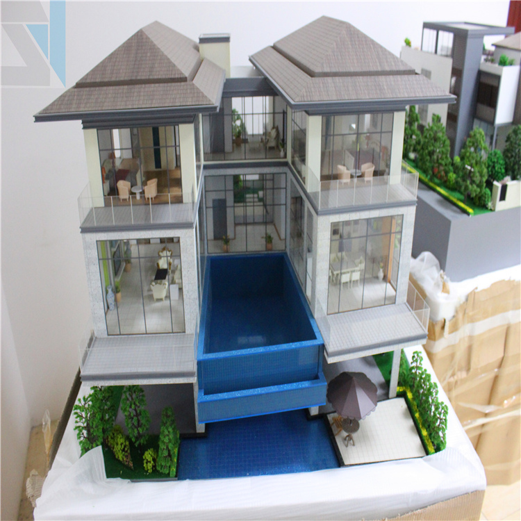 Charming Villa House Model, Scale Miniature Model With Landscape Trees
