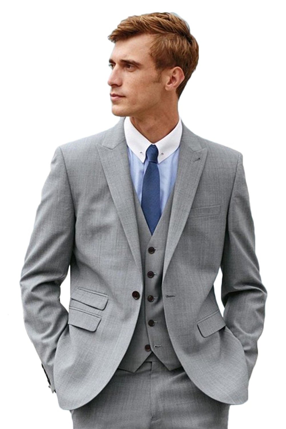 a5e4fc400f Get Quotations · Mens One Button Formal Grey 3 Piece Suits Slim Fit Wedding  Groom Tuxedo