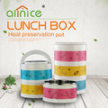 Popular round lunch box colorful design tiffin box 3 layer plastic food container