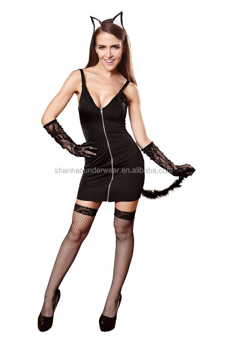Low price nice looking sexy cat cosplay costume