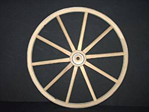 Functional - Wood Wagon Wheel - Small Cart Wooden Wagon Wheels - 18 inch with 10 staggard spokes and 1/2 inch steel sleeve axle hole