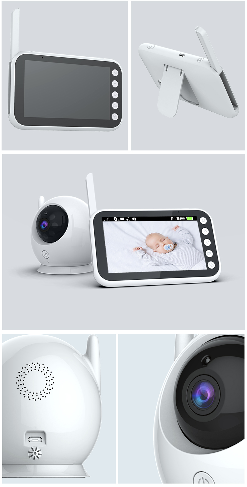 Baby monitor camera 4.3 Screen Touch button 2way wireless baby monitoring Camera Night Vision Cry sound temperature baby monitor