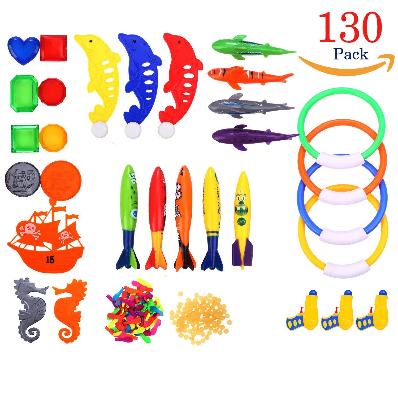 Richard Woods 130 Pack Swimming Toy Set Underwater Toys Include Water Gun,Balloons,Diving Pool Rings,Aquatic Dive Balls,Shark,Ship Series
