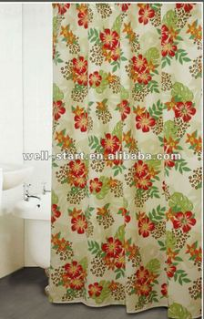 Tropical Jungle Printed Polyester Waffle Jacquard Fabric Shower Curtain Stock Bath Product On Alibaba