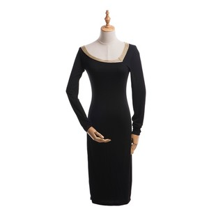 NEW DESIGN WHOLESALE ELEGANT ASYMMETRICAL LADY DRESS WITH GOLD METAL TRIM