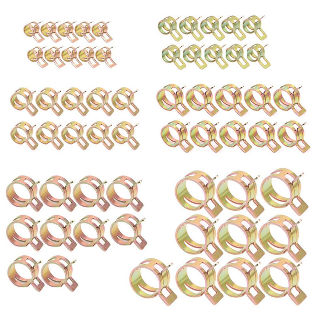 60Pcs 6-15mm Spring Clips Fuel Oil Water Hose Clip Pipe Tube Clamp Fastener(7mm10+9mm10 + 10mm10 + 12mm10 + 14mm10 + 15mm10)
