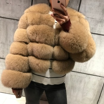 Custom Wholesale Winter Warm Natural Blue Fox Fur Coat Women / Female Short Classic Lady Colorful Full Sleeve Real Fox Fur Coat