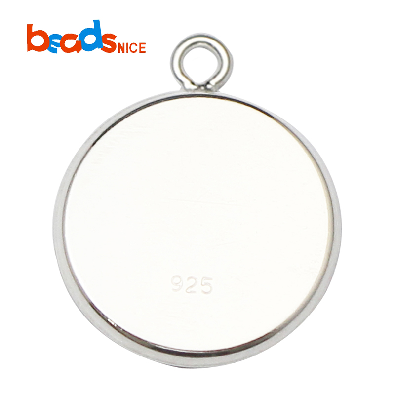 Beadsnice Sterling Silver Cabochon Settings Pendant Trays with Soldered Ring for Jewelry Making ID27608, Silver/platinum/gold/rose gold
