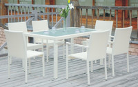 Hotel Used Long Table With 6 Chairs Outdoor Rattan Dining Room Funiture
