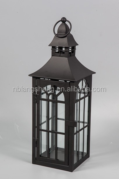 Black hanging large stainless steel moroccan candle metal lantern