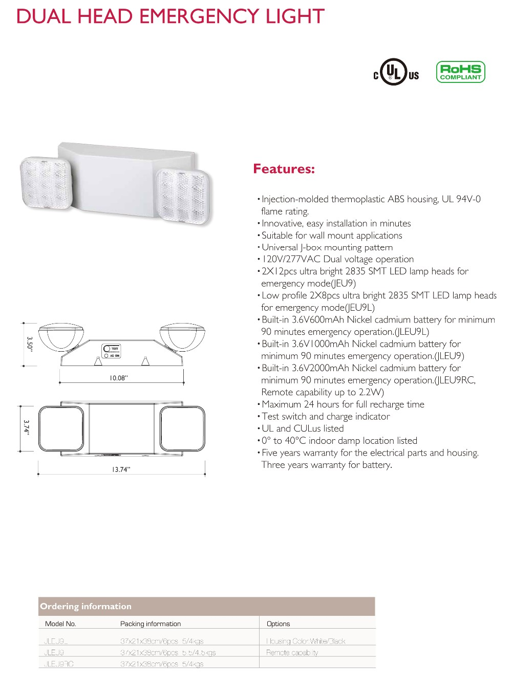 Wall-mounted ultra bright dual head LED emergency light