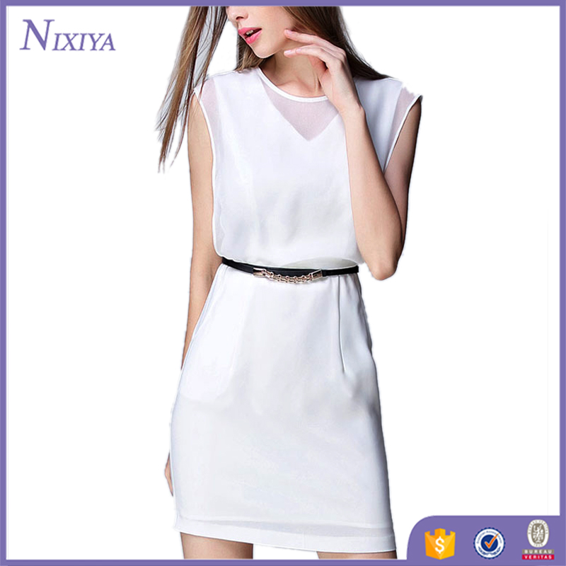 OEM service white chiffon elegant office working dresses for ladies