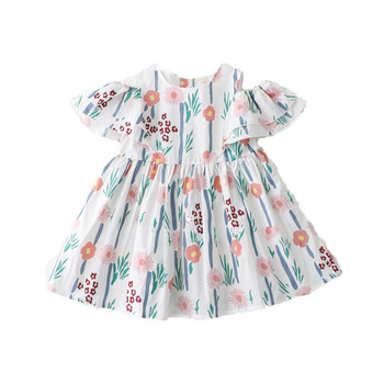 Wholesale Baby Frock 2014 Picture Flower Prints Girl Dress Mini Skirt